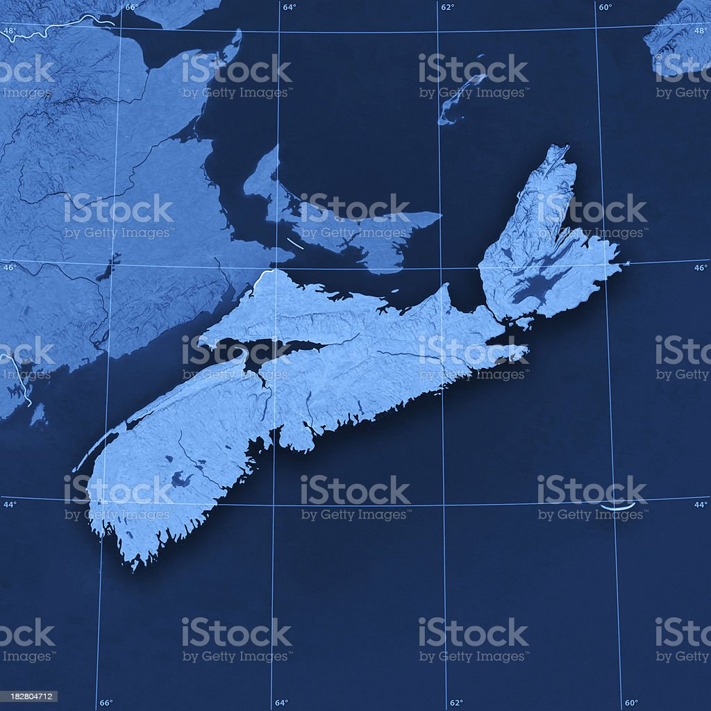 Nova Scotia Topographic Map royalty-free stock photo