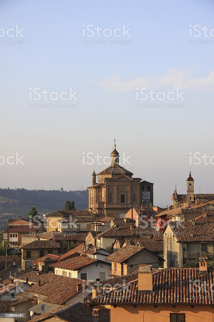 Novello Italian village in evening light stock photo