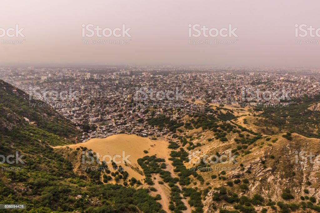 November 04, 2014: Panorama of Jaipur city, India stock photo