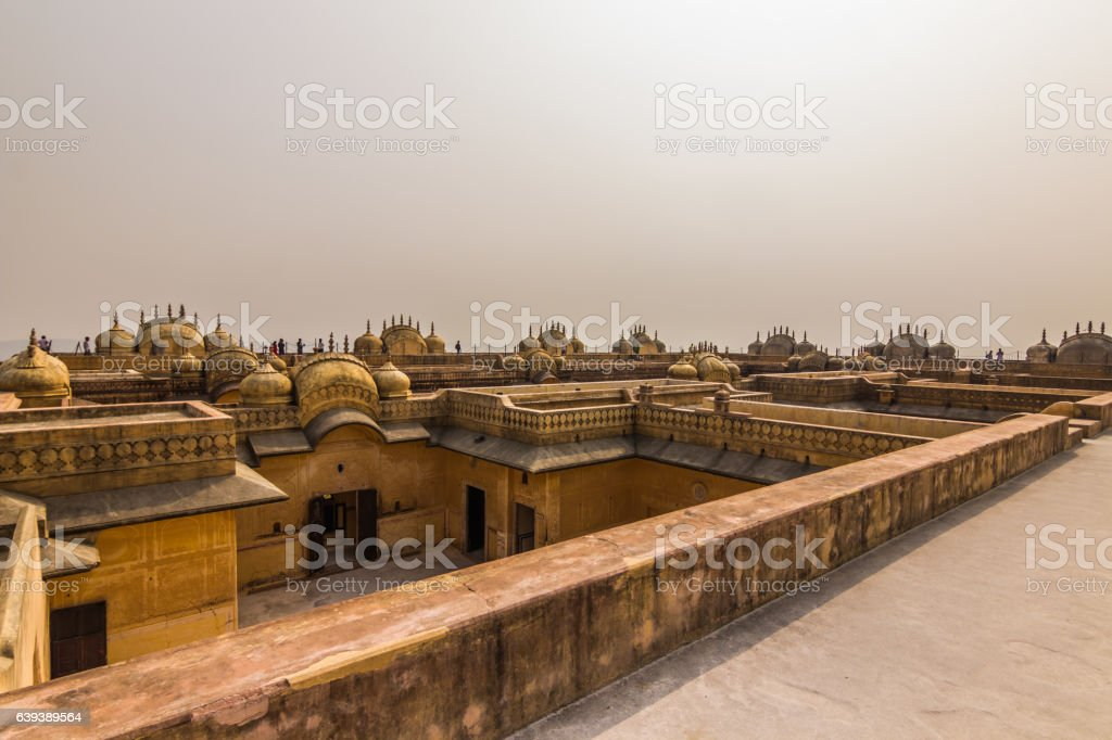 November 04, 2014: Rooftops of the Nahargarh fort stock photo