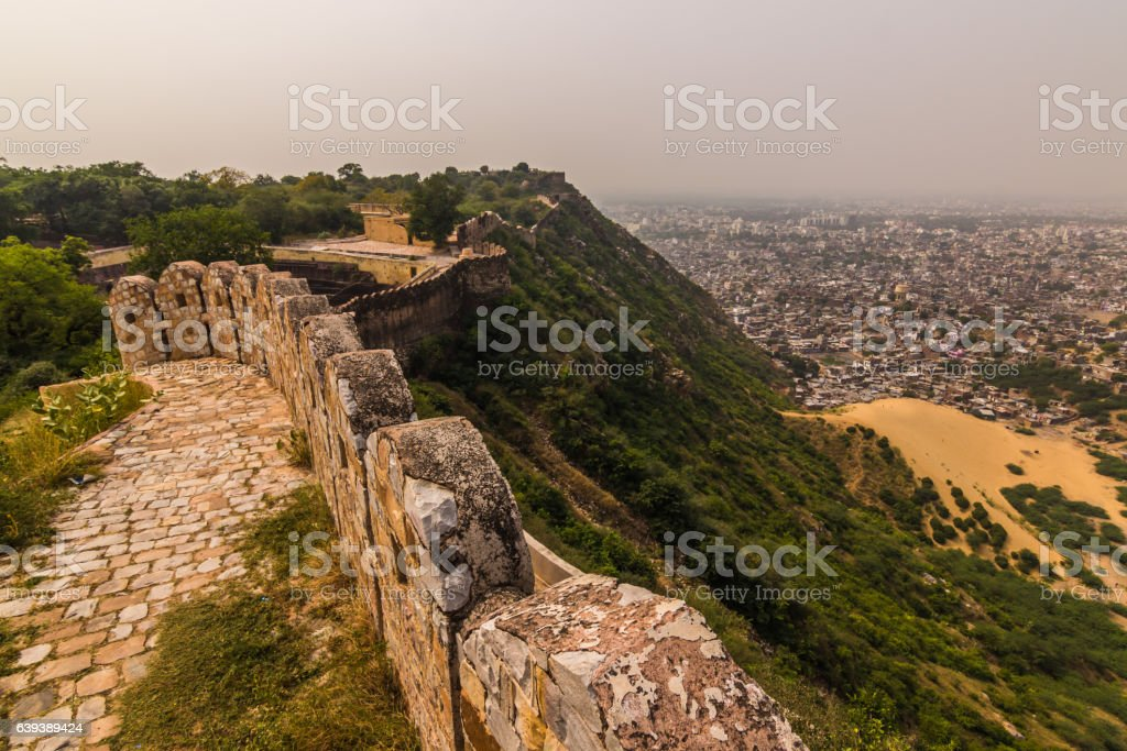 November 04, 2014: The walls around the Amber Fort stock photo