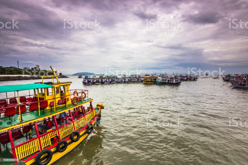 November 15, 2014: Tour boats in the coast Mumbai, India stock photo