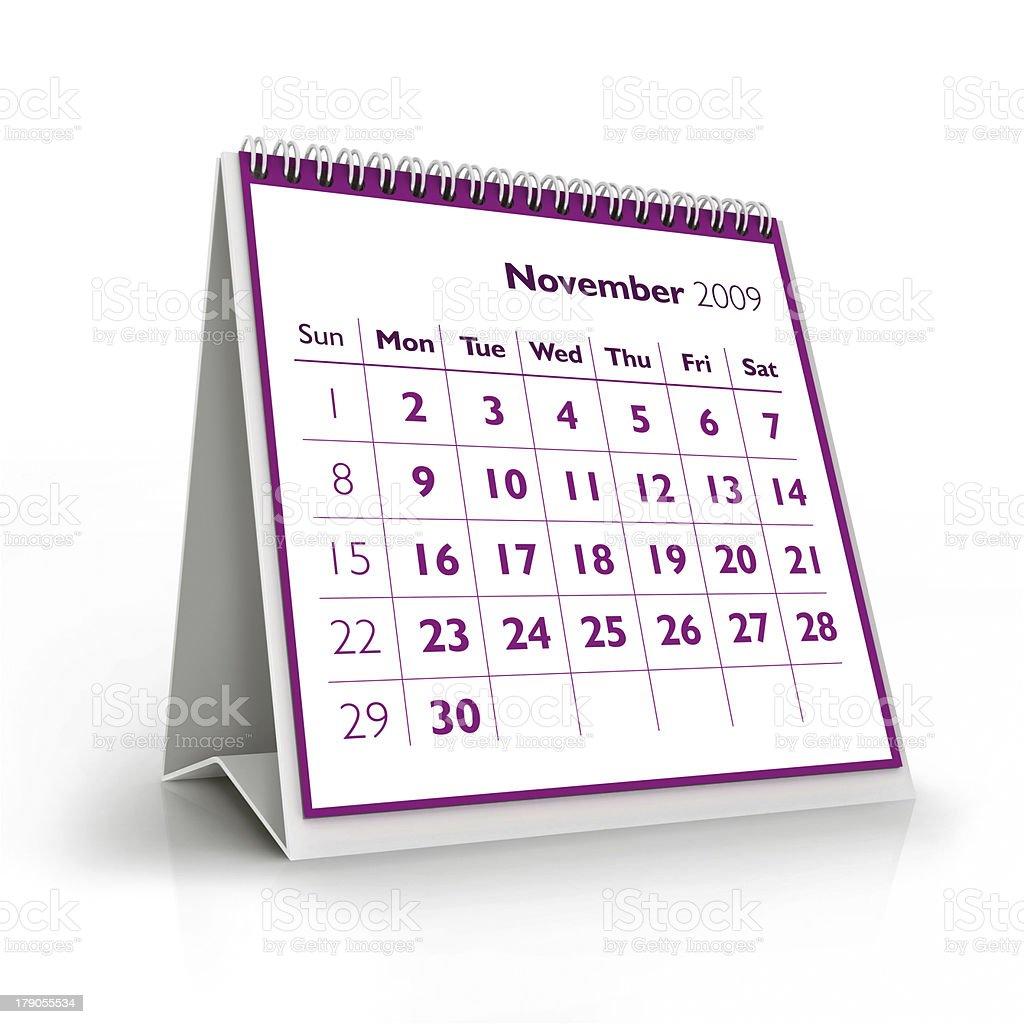 November. 2009 3D calendar royalty-free stock photo
