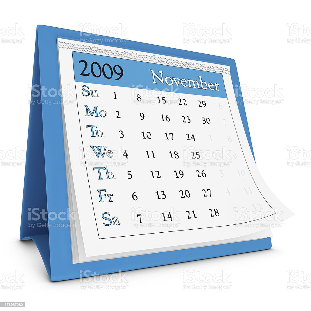 November 2009 - Calendar series royalty-free stock photo
