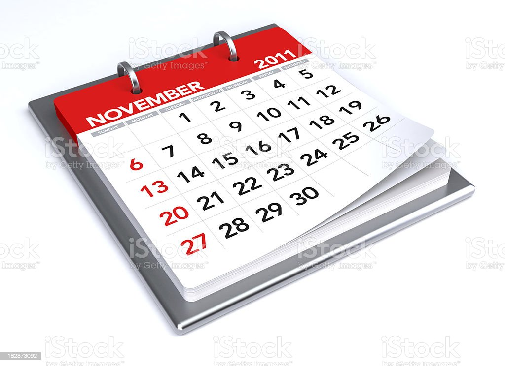 November 2011 - Calendar royalty-free stock photo