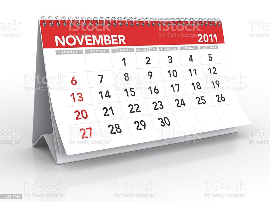 November 2011 - Calendar royalty-free stock photo