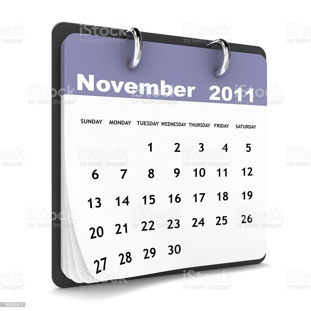 November 2011 - Calendar series royalty-free stock photo