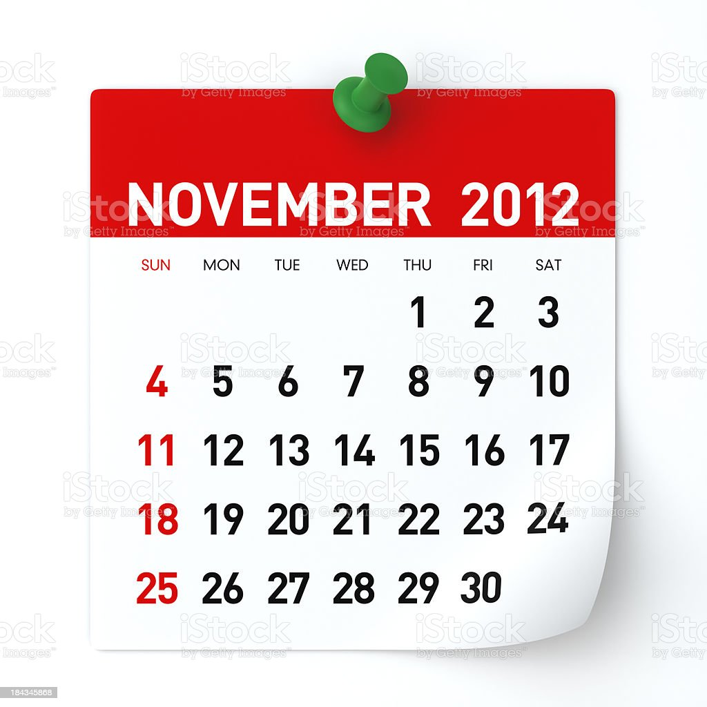 November 2012 - Calendar royalty-free stock photo