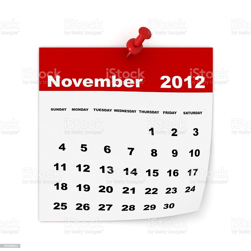November 2012 Calendar royalty-free stock photo
