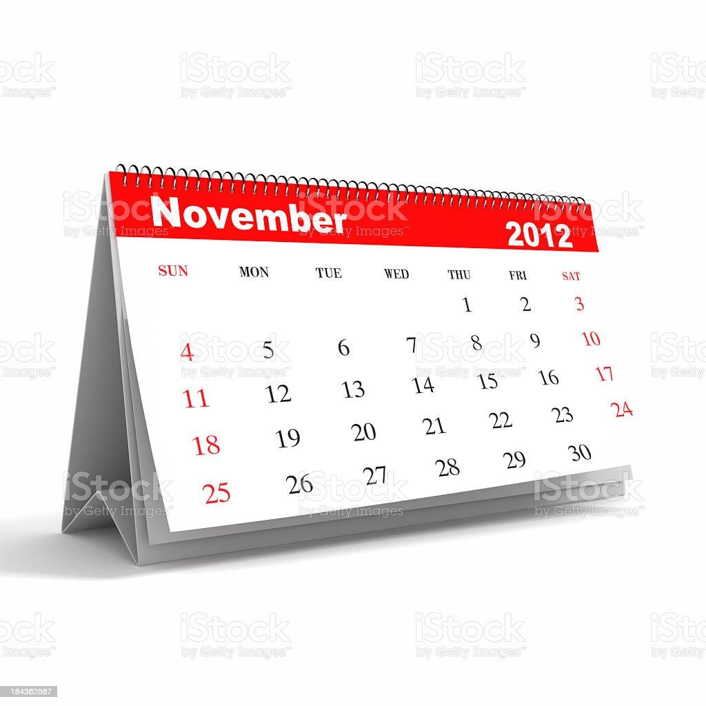 November 2012 - Calendar series royalty-free stock photo