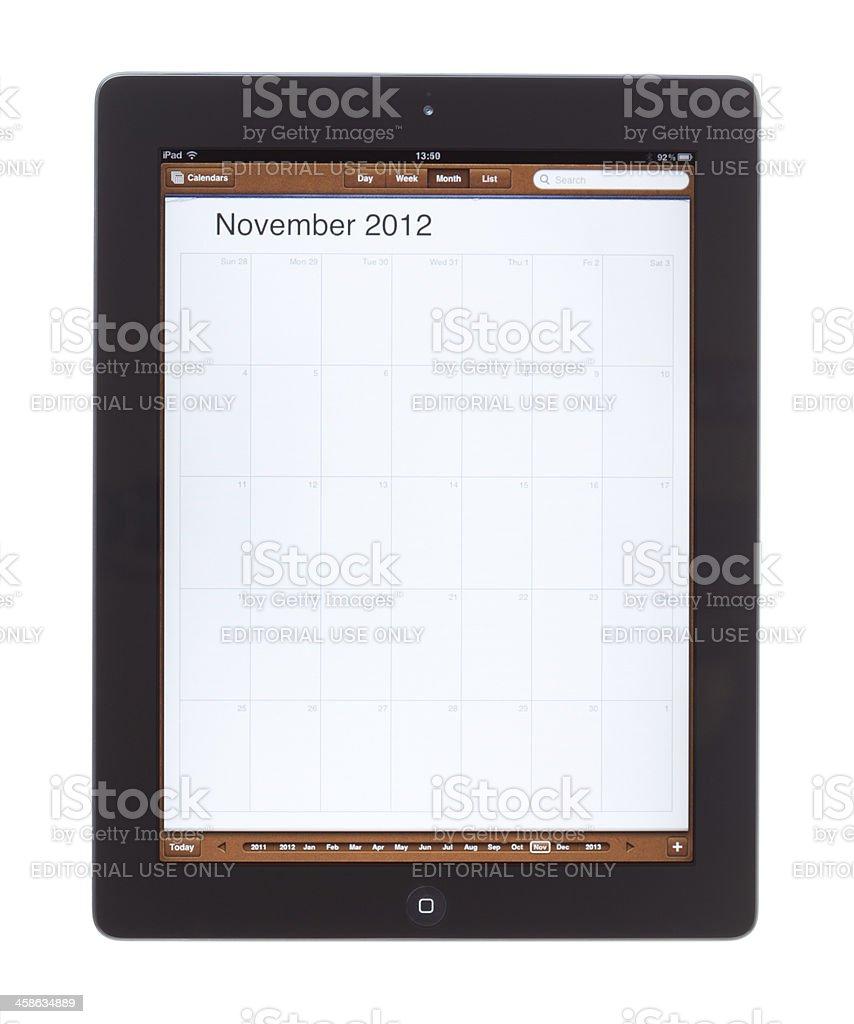 November 2012 Calender on Ipad 2 stock photo
