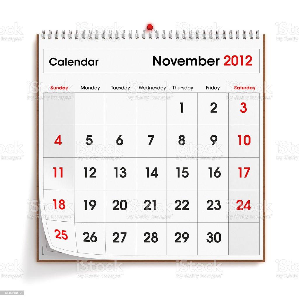 November 2012 Wall Calendar royalty-free stock photo