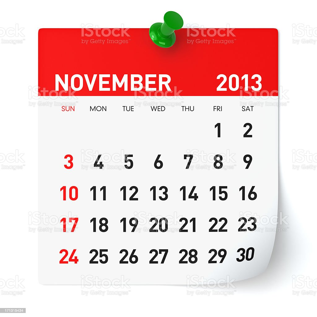 November 2013 - Calendar royalty-free stock photo