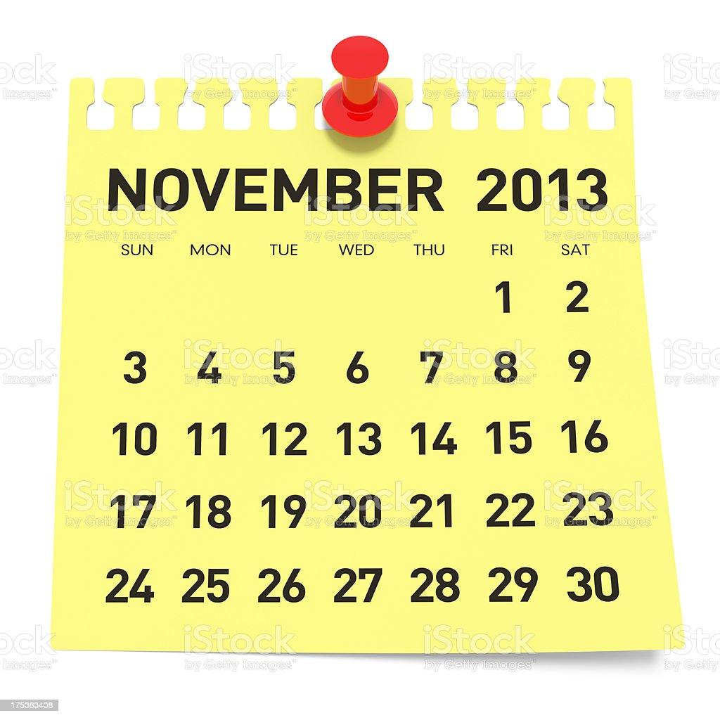 November 2013 - Calendar royalty-free stock photo
