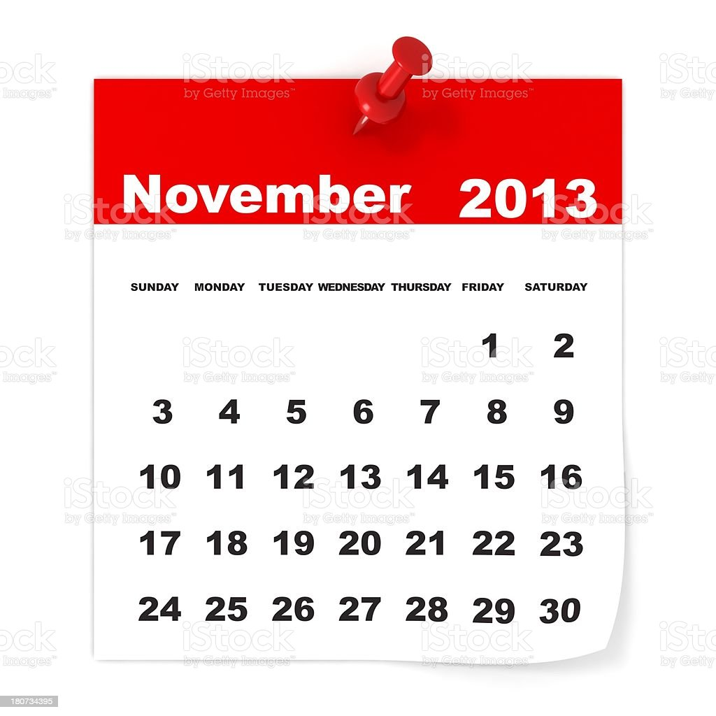 November 2013 - Calendar series royalty-free stock photo