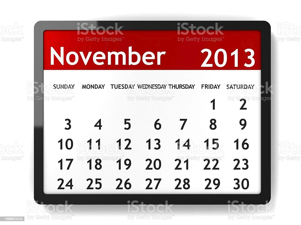 November 2013 - Calendar series stock photo