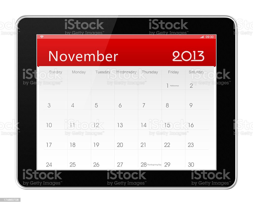 November 2013 Calender on digital tablet stock photo