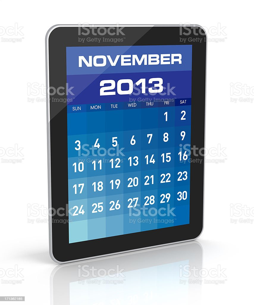 November 2013 - Tablet Calendar royalty-free stock photo
