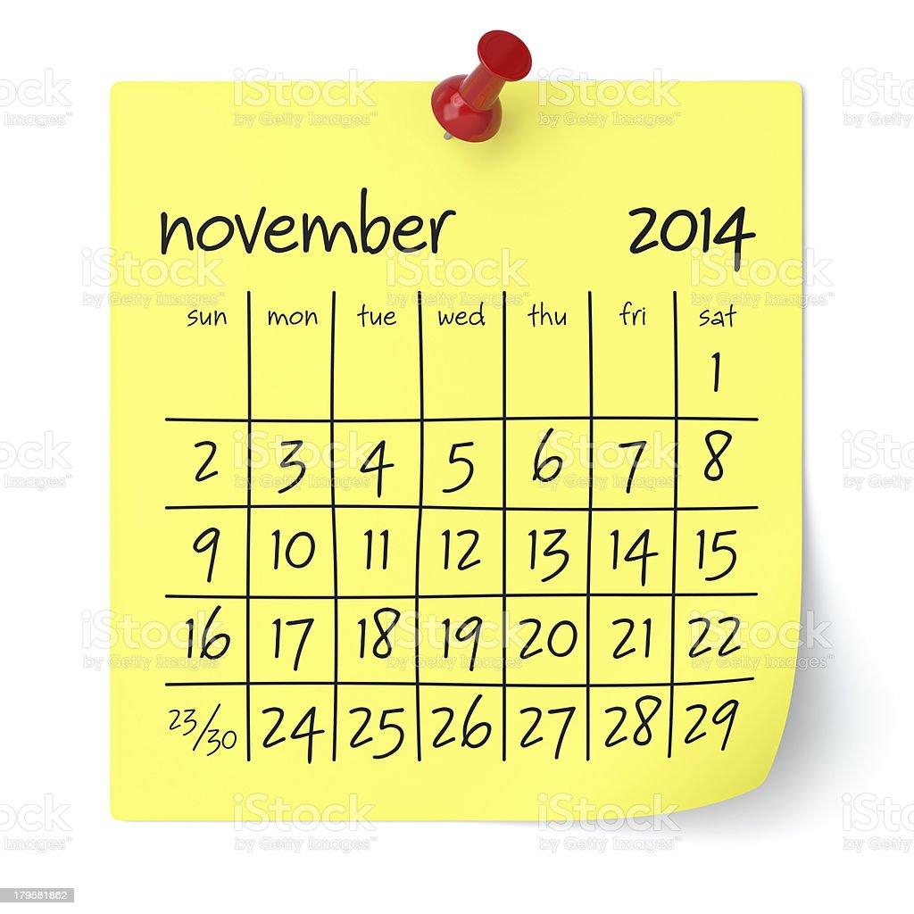 November 2014 - Calendar royalty-free stock photo