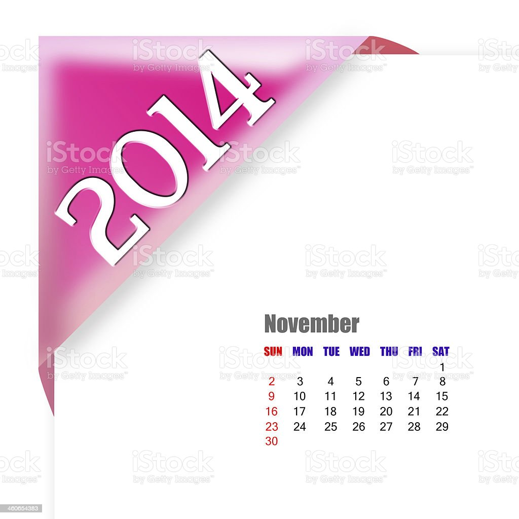 November 2014 - Calendar series royalty-free stock photo
