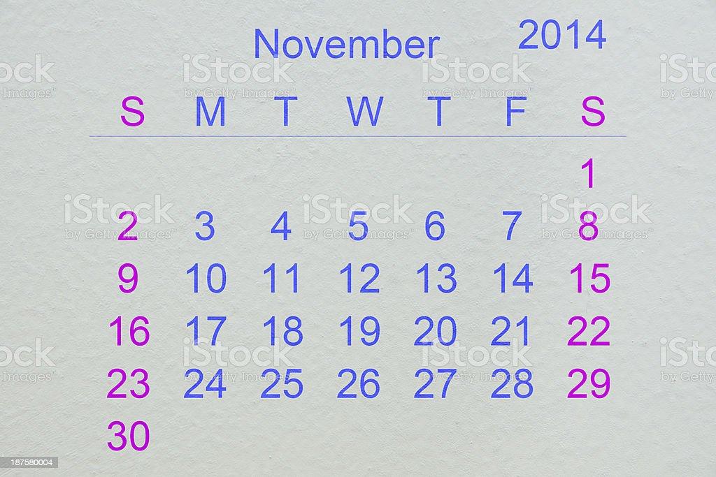 November 2014 royalty-free stock photo