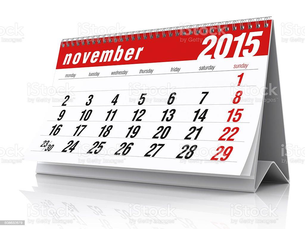 November 2015 - Calendar stock photo