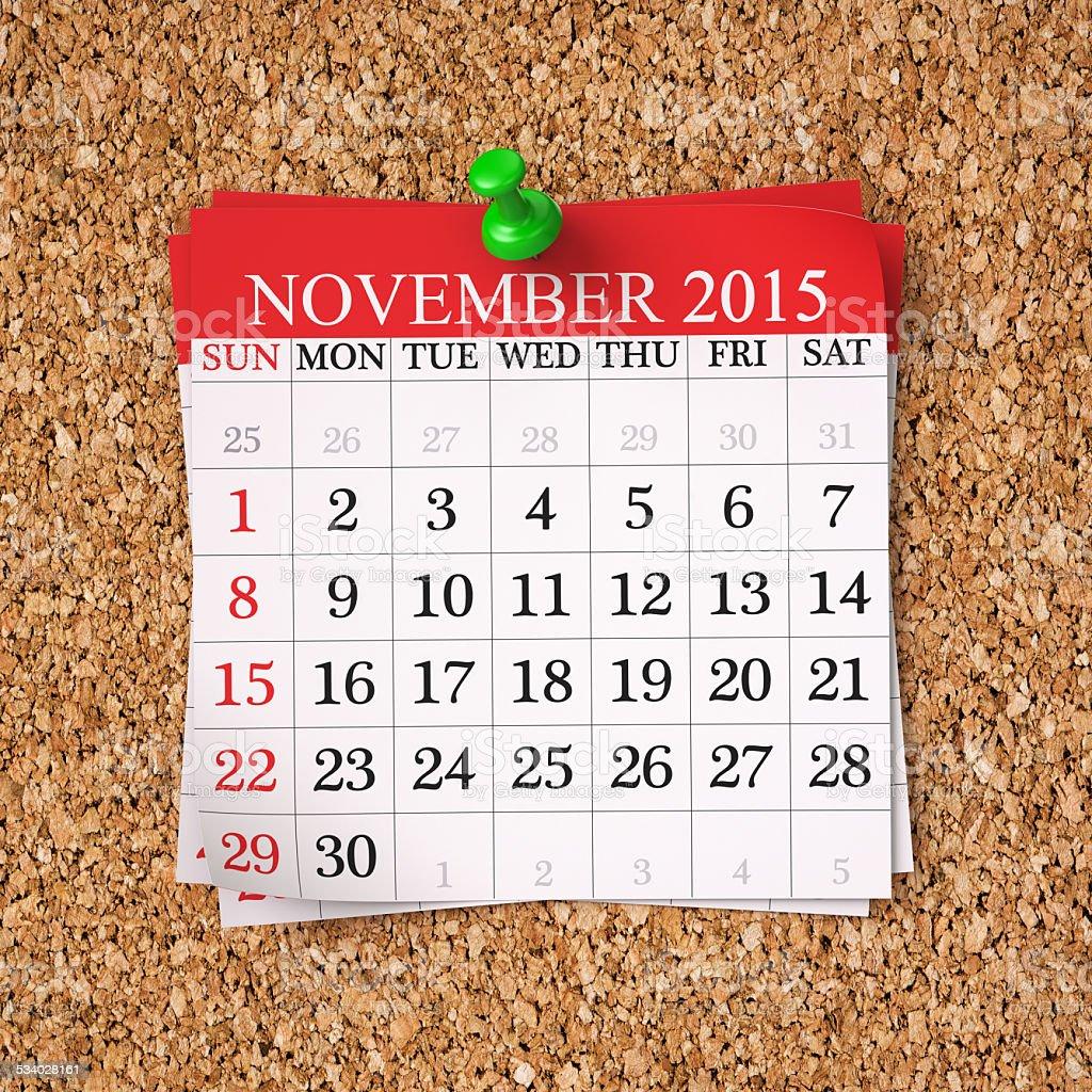 November 2015  Calendar stock photo