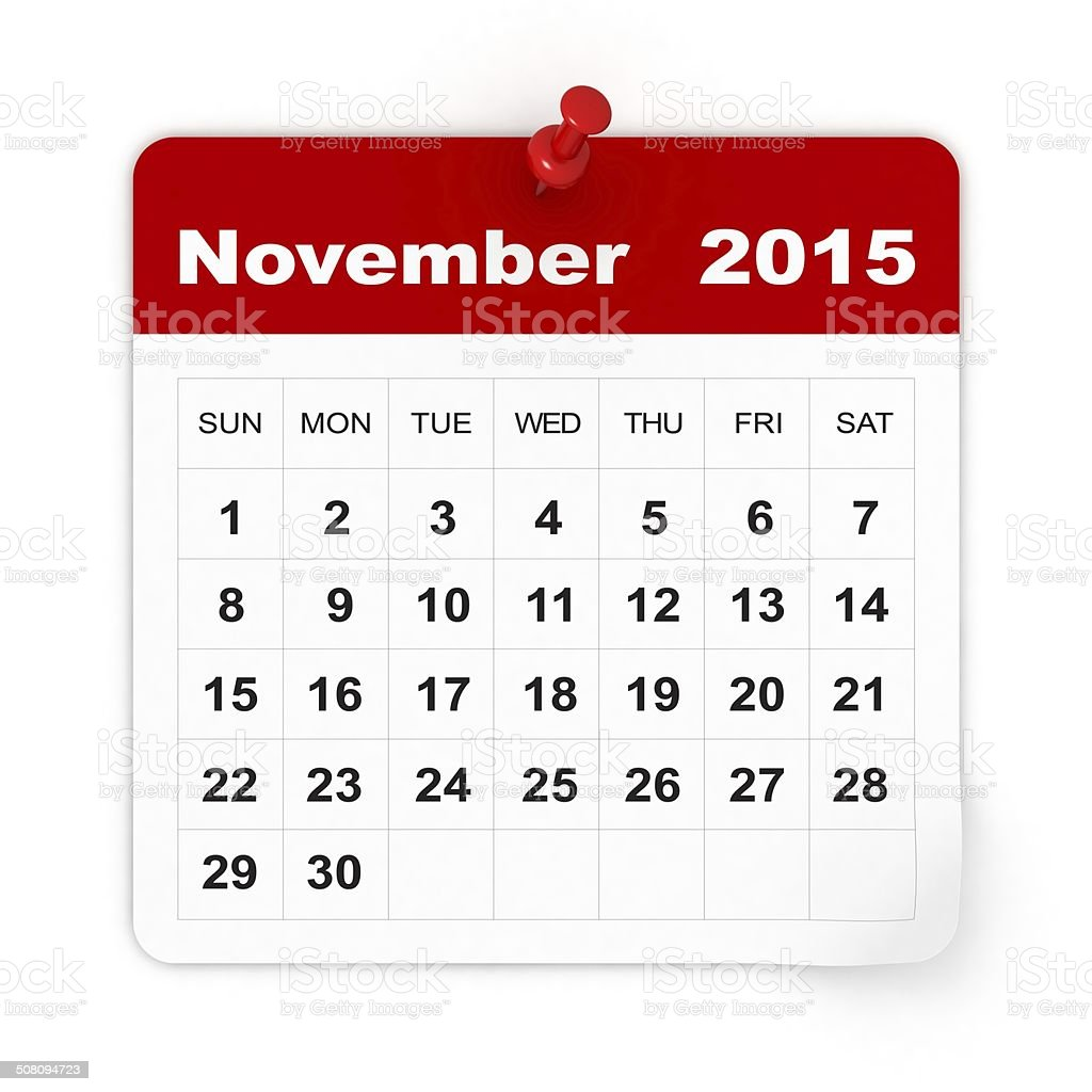 November 2015 - Calendar series stock photo