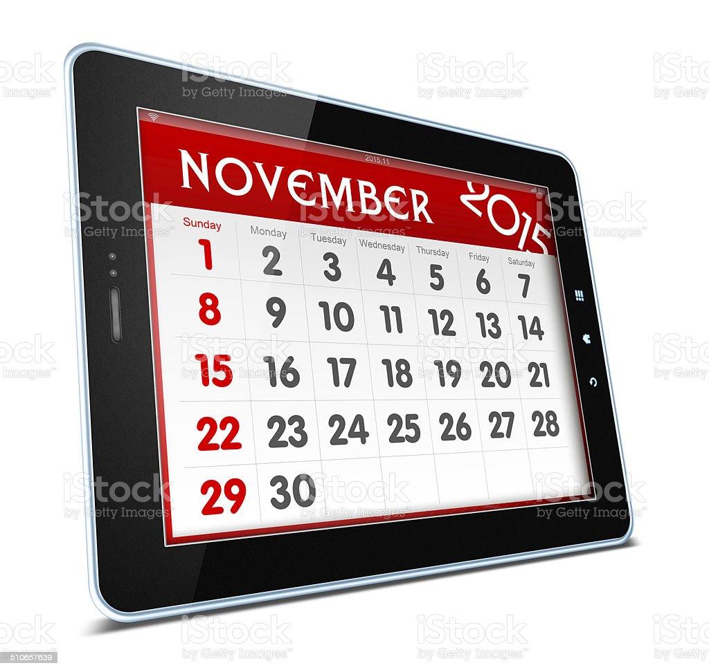 November 2015 Calender on digital tablet stock photo