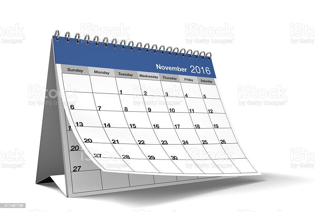 November 2016 Blue Desktop Calendar on Isolated White Background stock photo