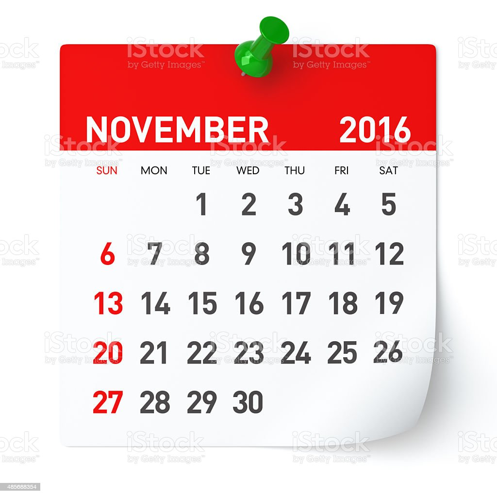 November 2016 - Calendar. stock photo