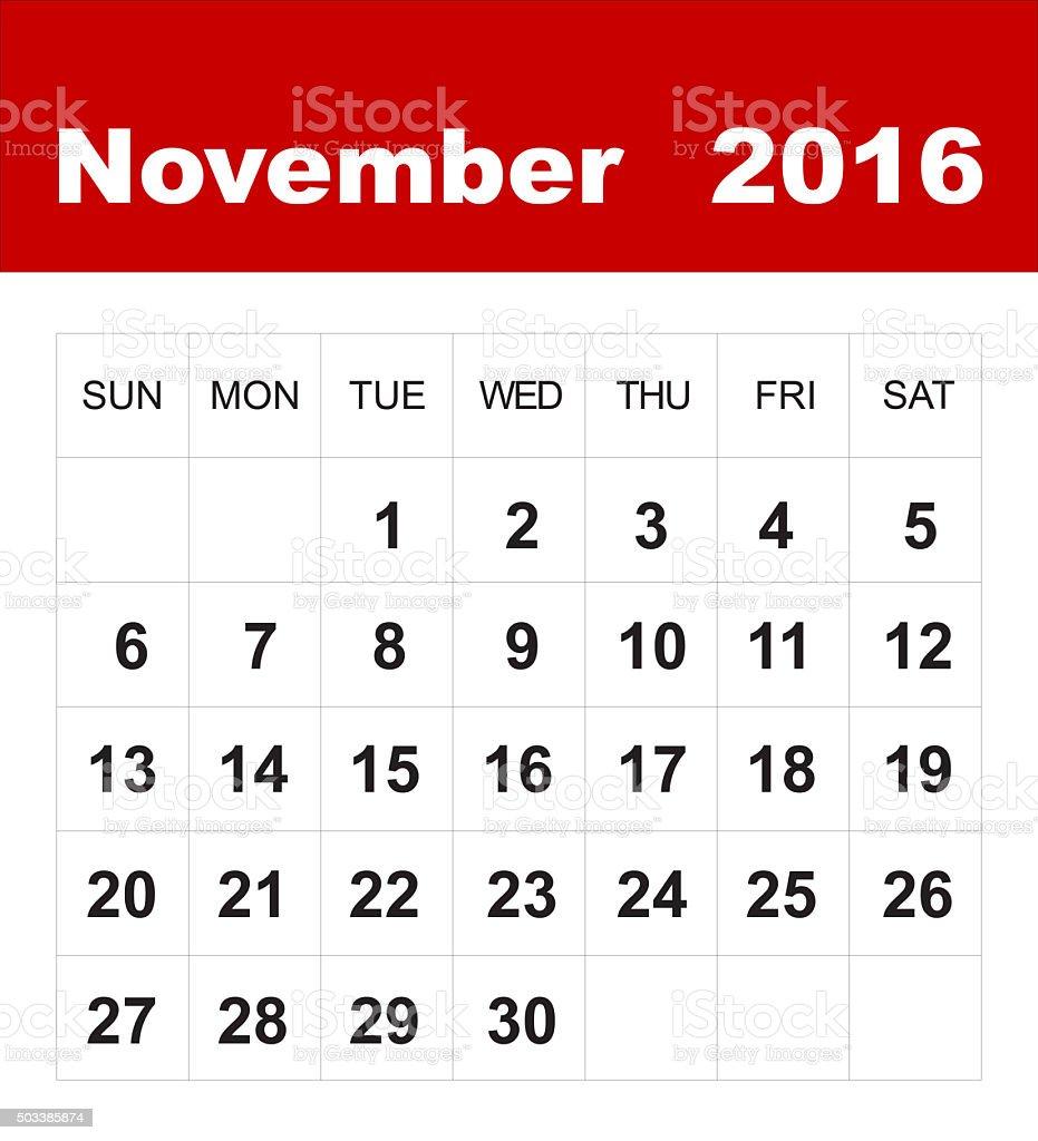 November 2016 calendar stock photo