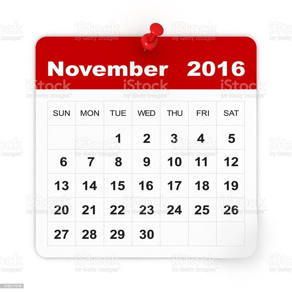 November 2016 - Calendar series stock photo