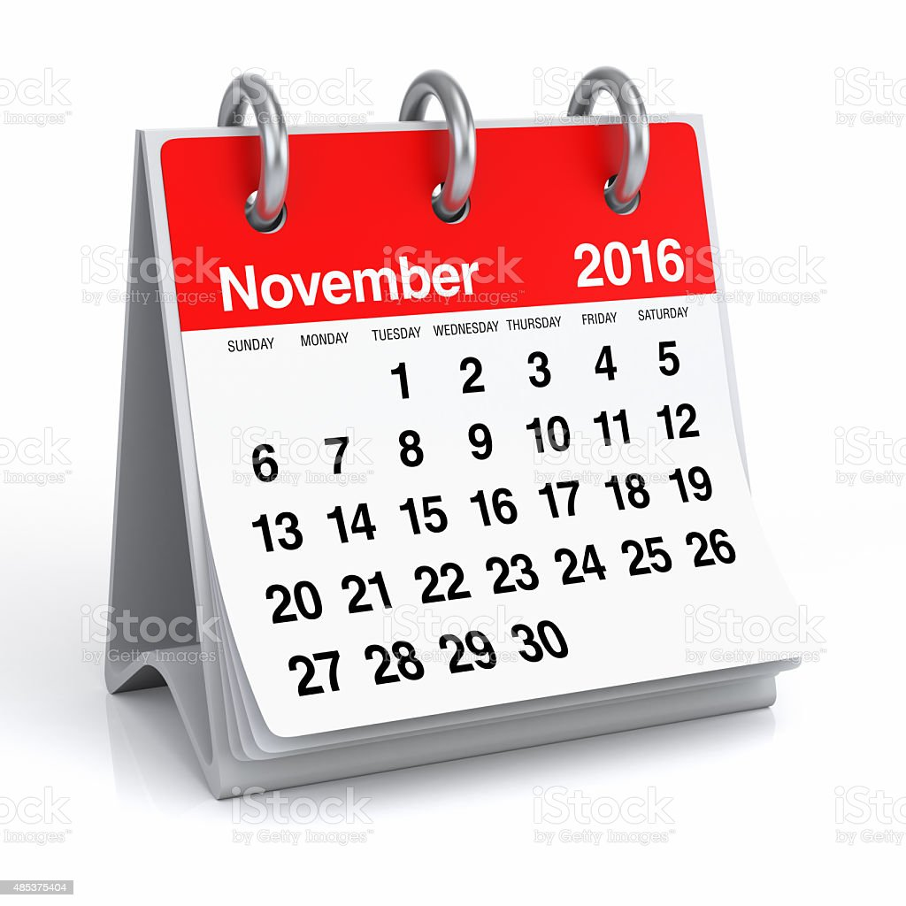 November 2016 - Desktop Spiral Calendar stock photo