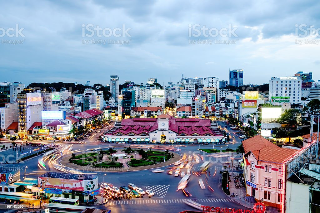 HO CHI MINH, VIETNAM - November 25 2015 sunset stock photo