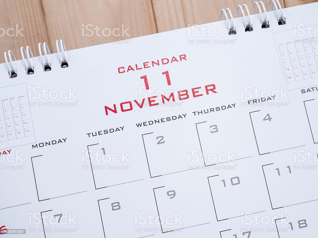 November on calendar page 1 stock photo