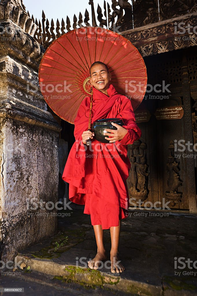 Novice Buddhist monk, Myanmar stock photo
