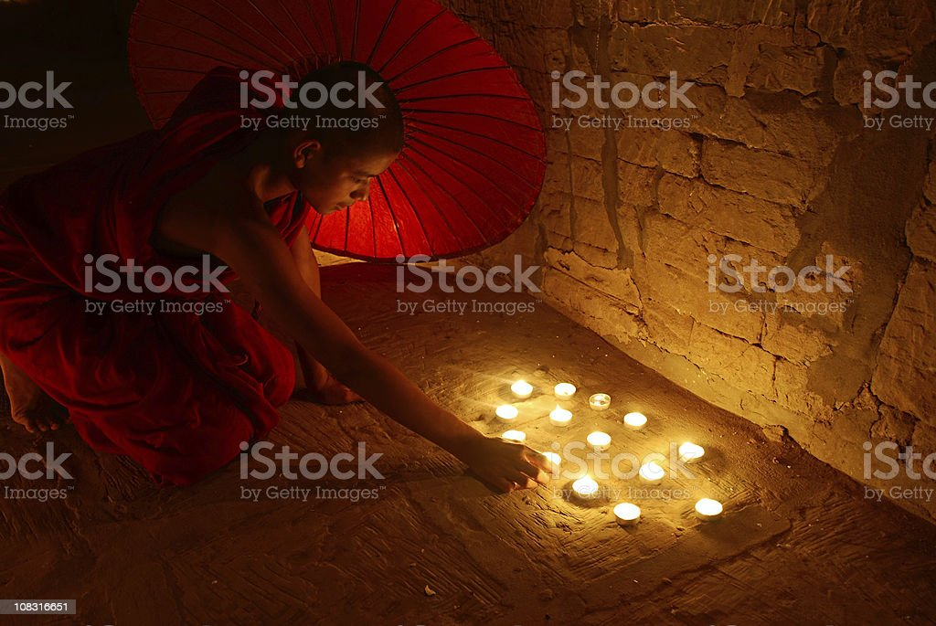 Novice buddhist monk stock photo