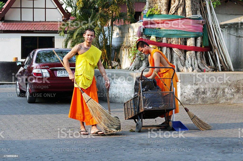Novice Buddhist monks  in Thailand stock photo