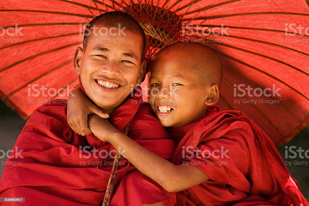 Novice Buddhist monks, Myanmar stock photo