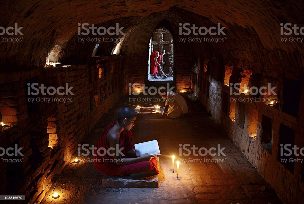 Novice buddhist monks stock photo