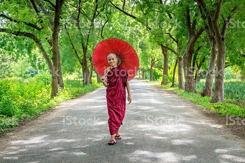 Novice Monk walking along Green Tree  Alley Bagan Myanmar stock photo