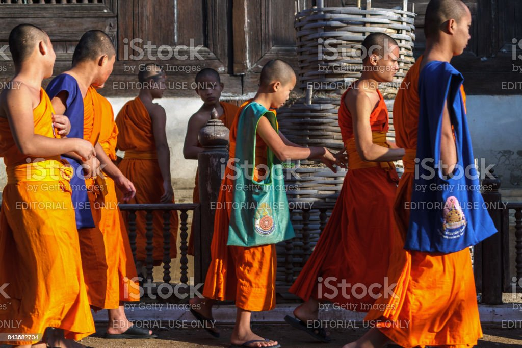Novice monks at Wat Prasat temple in Chiang Mai, Thailand. stock photo