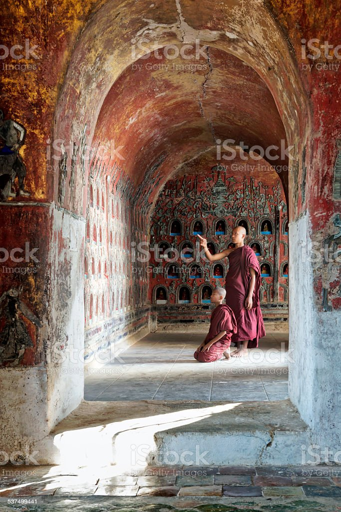 Novice Monks stock photo