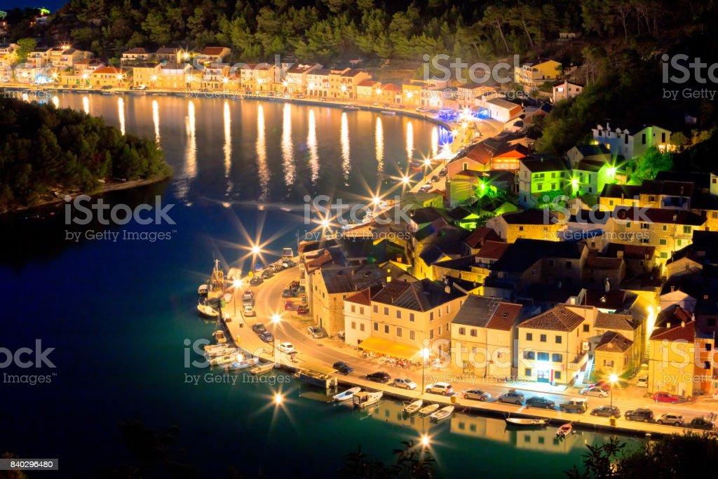 Novigrad Dalmatinski waterfront at evening aerial view, Dalmatia, Croatia stock photo