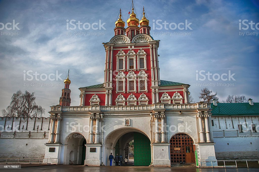 Novodevichy convent in the early morning stock photo