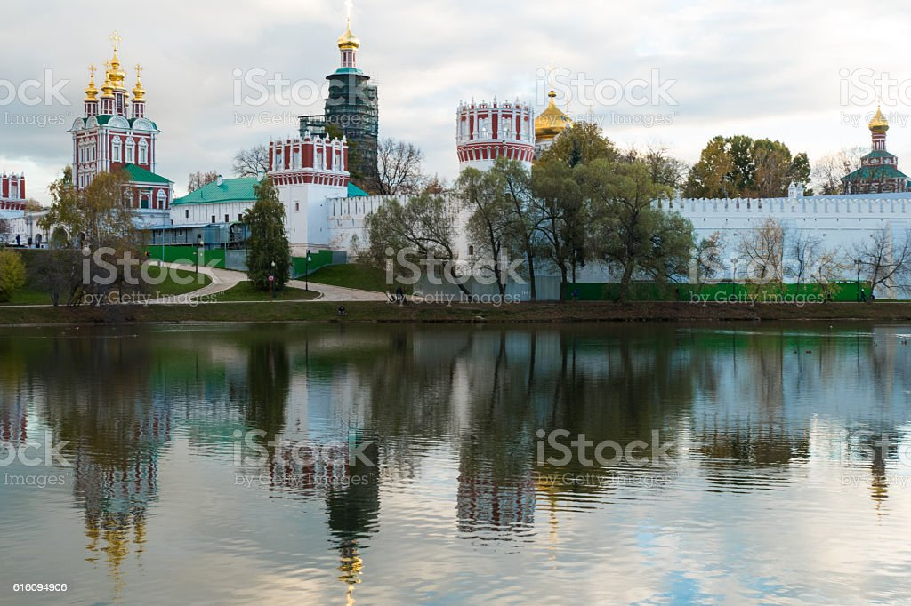 Novodevichy Convent in the pond with reflection stock photo