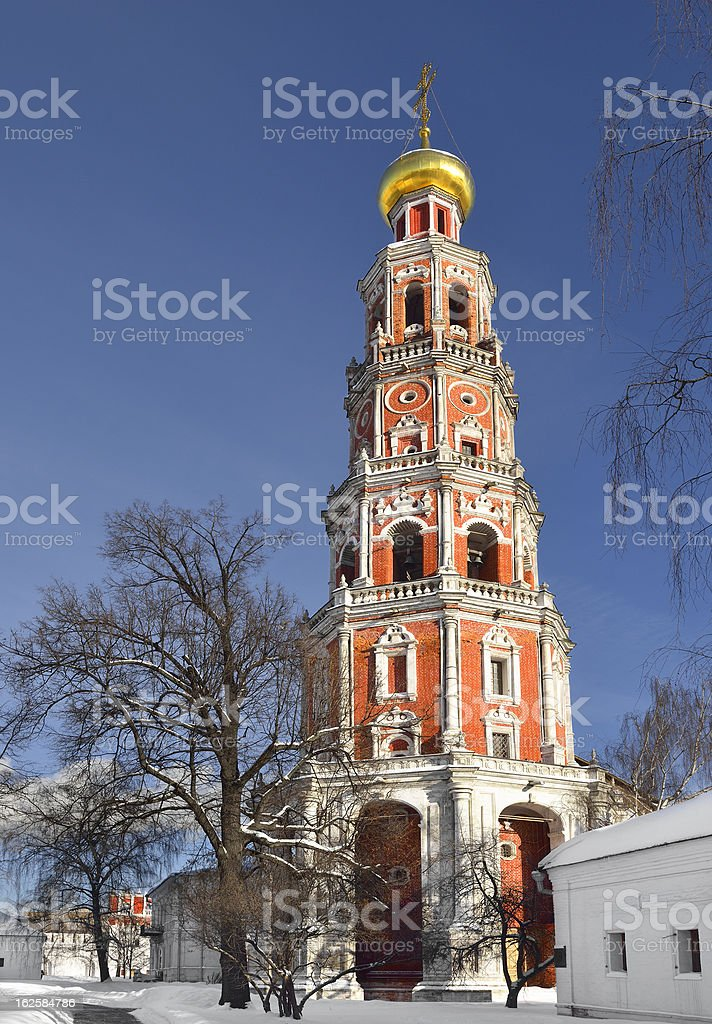 Novodevichy Convent. Octagonal bell-tower royalty-free stock photo