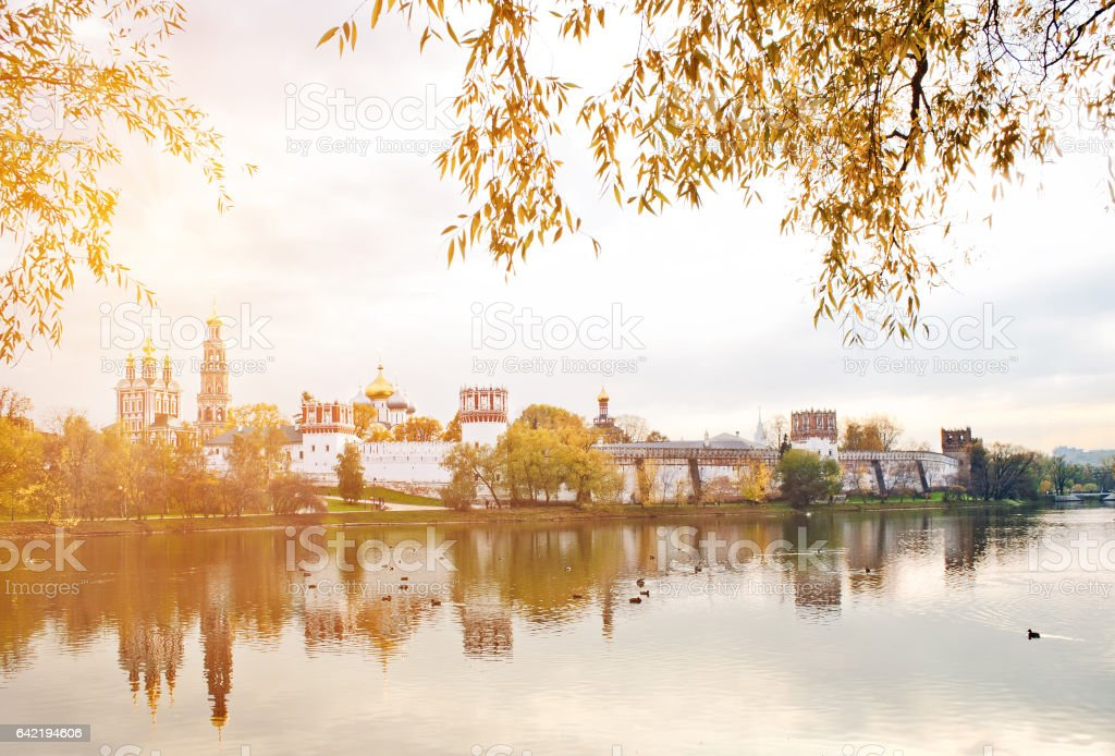 Novodevichy convent with reflection in pond in Moscow, Russia stock photo