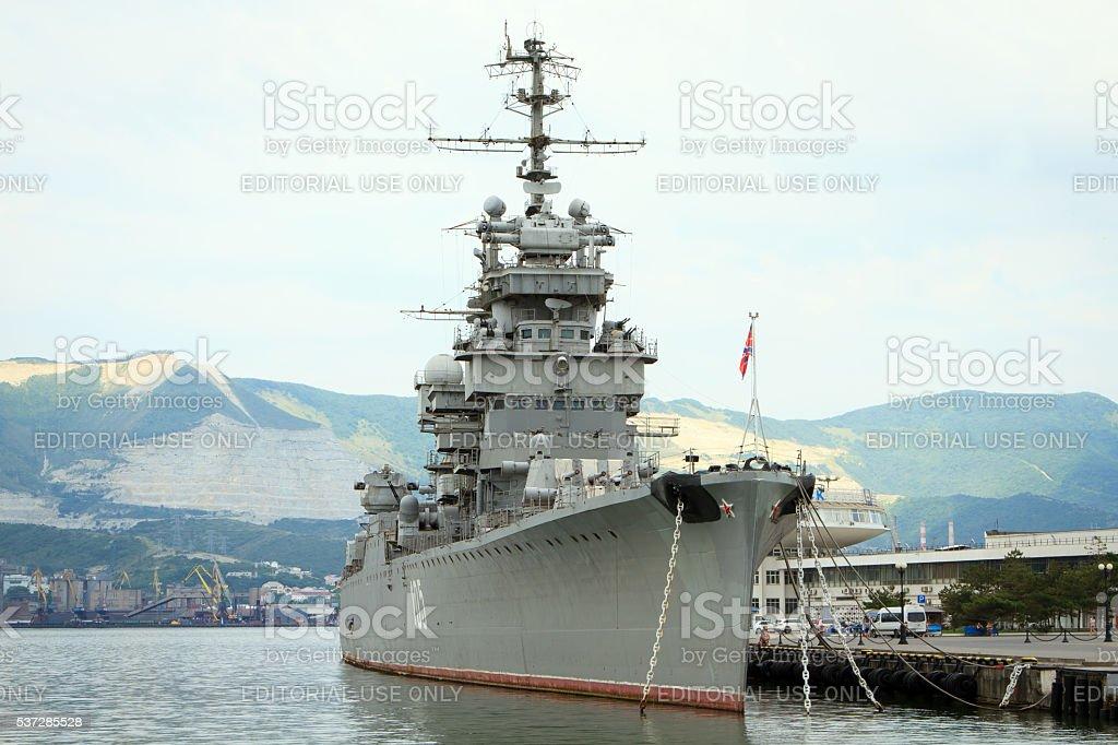 Novorossiysk, Russian Federation- 04 July 2015: The cruiser 'Mik stock photo